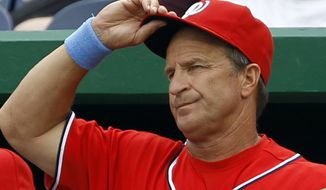 Washington Nationals manager Jim Riggleman resigned as manager over a contract dispute Thursday, June 23, 2011. (AP Photo/Ann Heisenfelt, File)