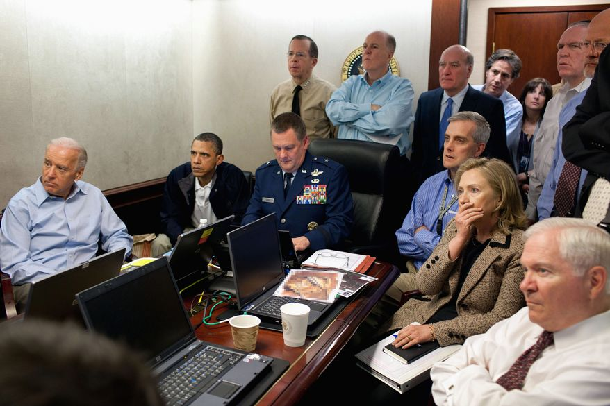 ASSOCIATED PRESS President Obama (seated, second from left), Vice President Joseph R. Biden (far left), Secretary of State Hillary Rodham Clinton (seated, second from right), Defense Secretary Robert M. Gates (seated, far right) and others follow the unfolding mission that resulted in the death of Osama bin Laden.