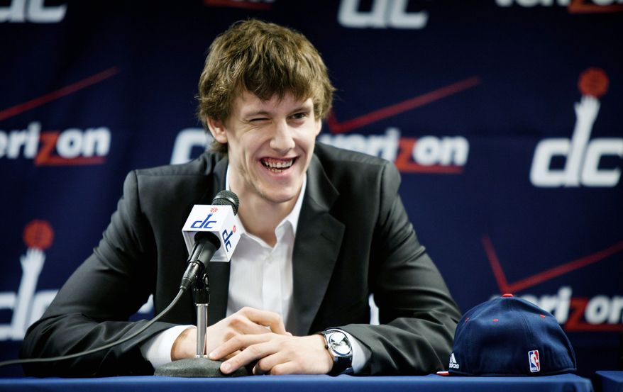 "Jan Vesely showed his humorous side when asked at a news conference if he was the European Blake Griffin. ""Yeah, I think so,"" he said of being compared to the Los Angeles Clippers' All-Star dunk specialist. (Pratik Shah/The Washington Times)"