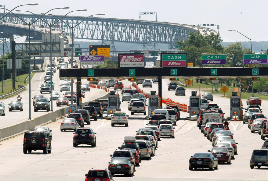 Traffic begins to back up at the Chesapeake Bay Bridge near Annapolis over the Labor Day weekend in this June, 27, 2011 file photo. (Associated Press) ** FILE **