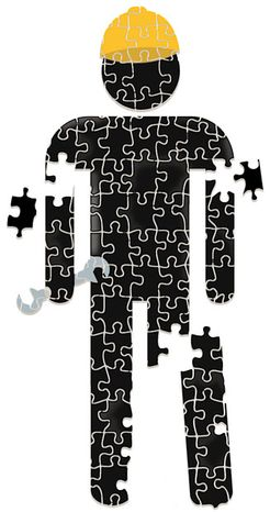 Illustration: Employment puzzle by Linas Garsys for The Washington Times