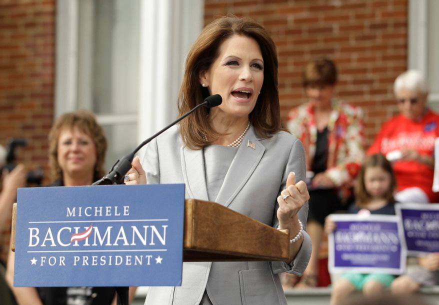 Rep. Michele Bachmann, R-Minn., officially announces her intention to seek the Republican presidential nomination, Monday, June 27, 2011, in Waterloo, Iowa. (AP Photo/Charlie Riedel)