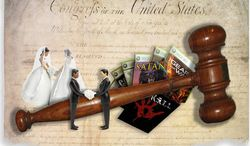 Illustration: Video game ruling by John Camejo for The Washington Times