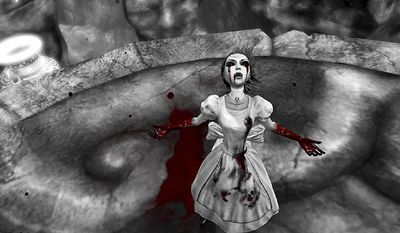 Shocking imagery mixes with Lewis Carroll's famed story in the video game Alice: Madness Returns .
