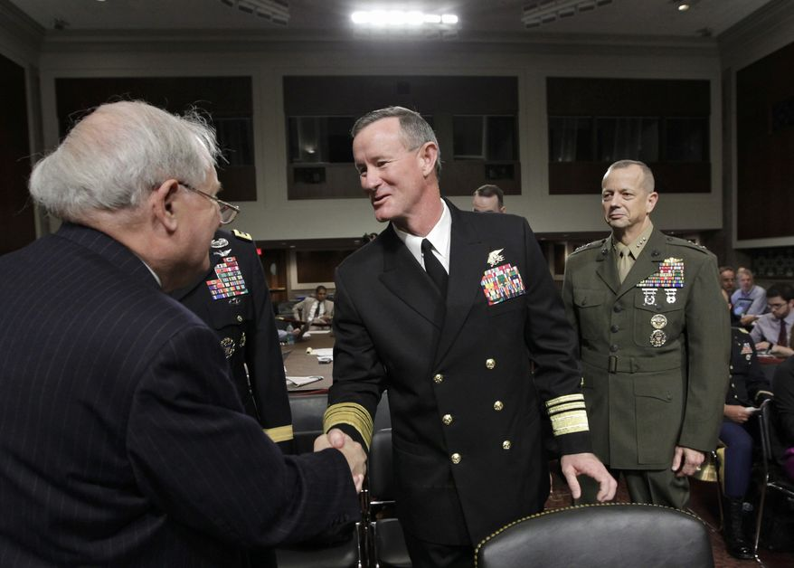 Sen. Carl Levin (left), Senate Armed Services Committee chairman, welcomes Navy Vice Adm. William H. McRaven (center), the nominee to become commander of the U.S. Special Operations Command, and Marine Lt. Gen. John Allen, nominee to become commander of U.S. forces in Afghanistan, at the start of confirmation hearings on Capitol Hill in Washington on Tuesday, June 28, 2011. (AP Photo/J. Scott Applewhite)