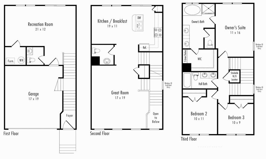 The Kentwell model has a great room and kitchen on the main level with three bedrooms and two full baths upstairs.