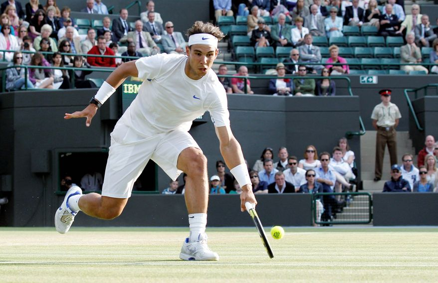 ASSOCIATED PRESS Rafael Nadal, who won Wimbledon in 2008 and 2010, is 31-2 in matches at the tournament since 2006. This year, he is dealing with a painful left foot injury (below).