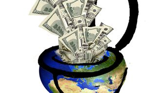 Illustration: Foreign aid by John Camejo for The Washington Times
