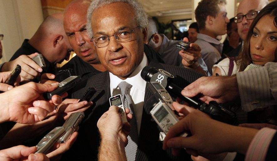 """Union chief Billy Hunter speaks to reporters after a meeting with the NBA, Thursday, June 30, 2011 in New York. Hunter says """"it's obvious the lockout will happen tonight"""" after players and owners failed to reach a new collective bargaining agreement, potentially putting the 2011-12 season in jeopardy. (AP Photo/Mary Altaffer)"""