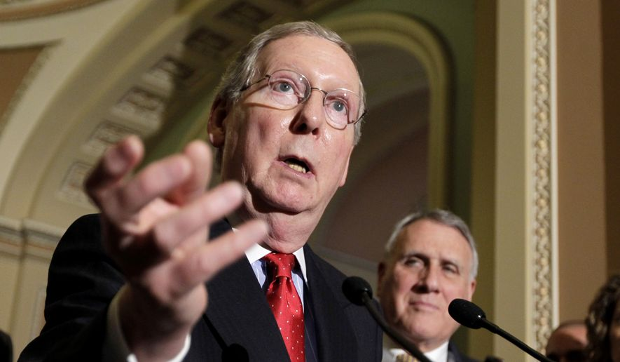 **FILE** Senate Minority Leader Mitch McConnell (left), Kentucky Republican, speaks June 28, 2011, with reporters as Senate Minority Whip Jon Kyl, Arizona Republican, looks on, following a weekly Republican policy luncheon on Capitol Hill. (Associated Press)