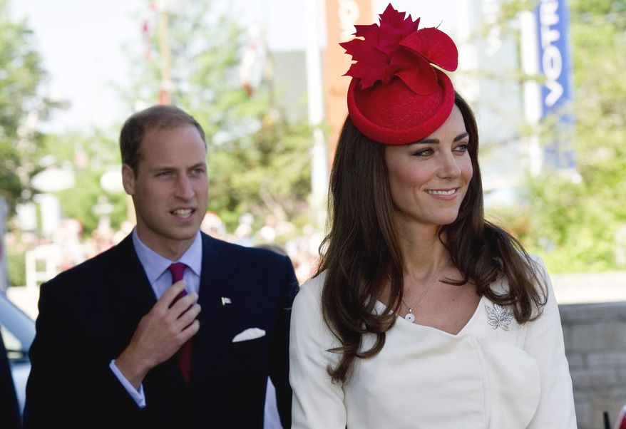 William and Kate, the Duke and Duchess of Cambridge, arrive at a citizenship ceremony in Gatineau, Quebec, Canada, on July 1, 2011. The royal couple watched new citizens take the oath of citizenship, in which new Canadians pledge allegiance to the Queen. (Associated Press/The Canadian Press)