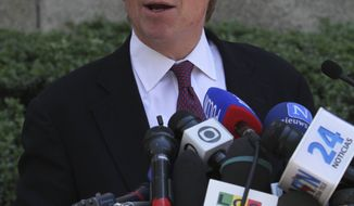 Manhattan District Attorney Cyrus Vance Jr. speaks to reporters after outside New York Supreme Court, Friday, July 1, 2011, in New York. (AP Photo/Mary Altaffer)