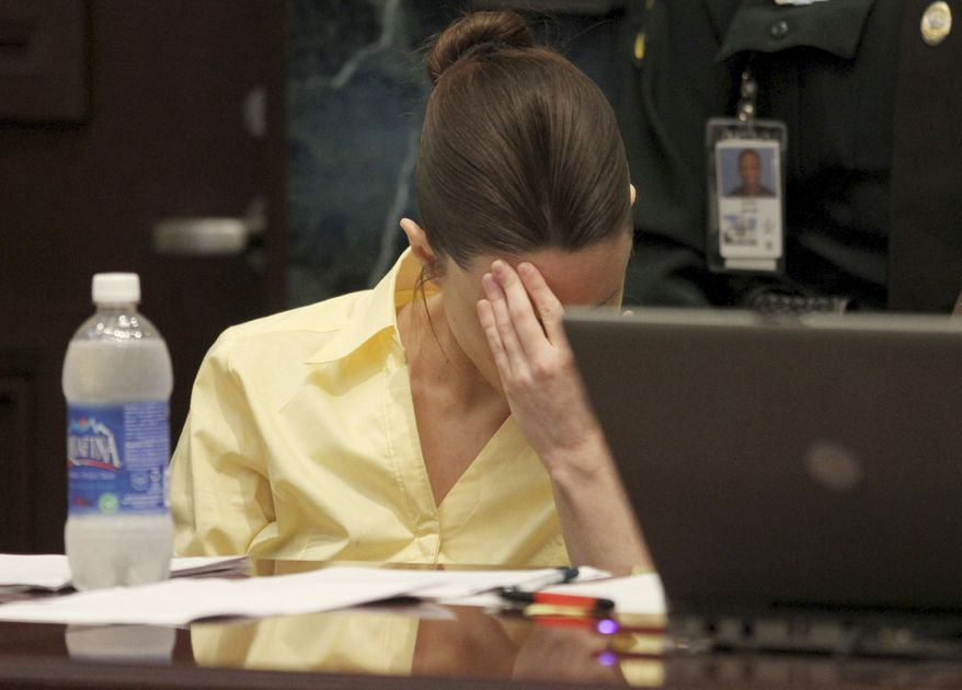 Casey Anthony reacts as the prosecution presents its closing arguments in her murder trial in Orlando, Fla., on Sunday, July 3, 2011. Ms. Anthony has plead not guilty to first-degree murder in the death of her daughter, Caylee, and could face the death penalty if convicted on that charge. (AP Photo/Red Huber, Pool)