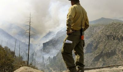 Firefighter Eugene Pino stands high above the smoke-filled Los Alamos Canyon on Friday, July 1, 2011, near Los Alamos, N.M. (AP Photo/Albuquerque Journal, Dean Hanson)