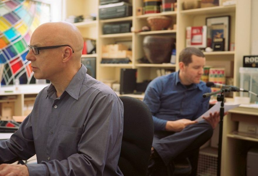 Brian Eno, left, collaborated with poet Rick Holland on Drums Between the Bells, the new album previewed exclusively above. (Courtesy Warp Records)