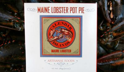 "Calendar Islands Maine Lobster Co. launched a line of eight frozen lobster products, including lobster pot pie, in January. ""The whole category of value-added lobster was kind of slim. You just didn't find it in supermarkets,"" Calendar Islands president John Jordan said. ""In some ways, this is really a new category for stores."" (Associated Press)"