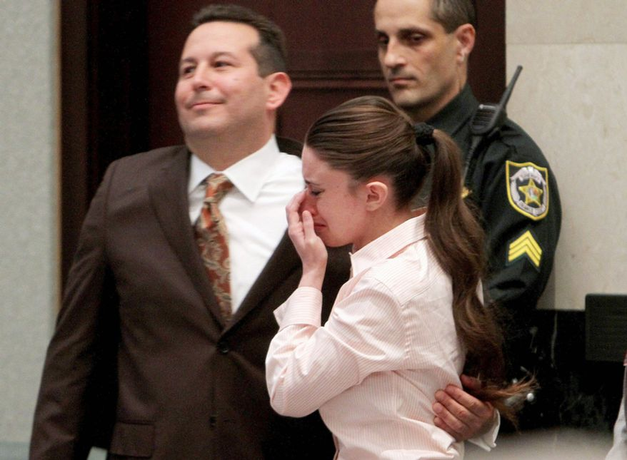 ** FILE ** Defense attorney Jose Baez and Casey Anthony, hug after the jury acquitted her of murdering her daughter, Caylee. (AP Photo/Red Huber, Pool)