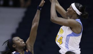 Chicago Sky's Sylvia Fowles (shown in a game against the Connecticut Sun) scored a season-high 34 points in the Sky's 78-65 win over the Washington Mystics on Tuesday night. (AP Photo/Nam Y. Huh)