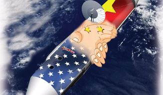 Illustration: U.S. and China in space by John Camejo for The Washington Times