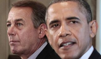 **FILE** House Speaker John Boehner (left), Ohio Republican, listens as President Obama speaks July 7, 2011, during a meeting with Congressional leadership to discuss the debt in the Cabinet Room of the White House. (Associated Press)