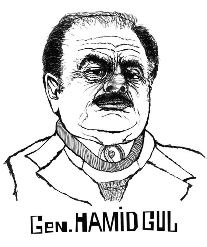 Illustration: Gen. Hamid Gul by John Camejo for The Washington Times