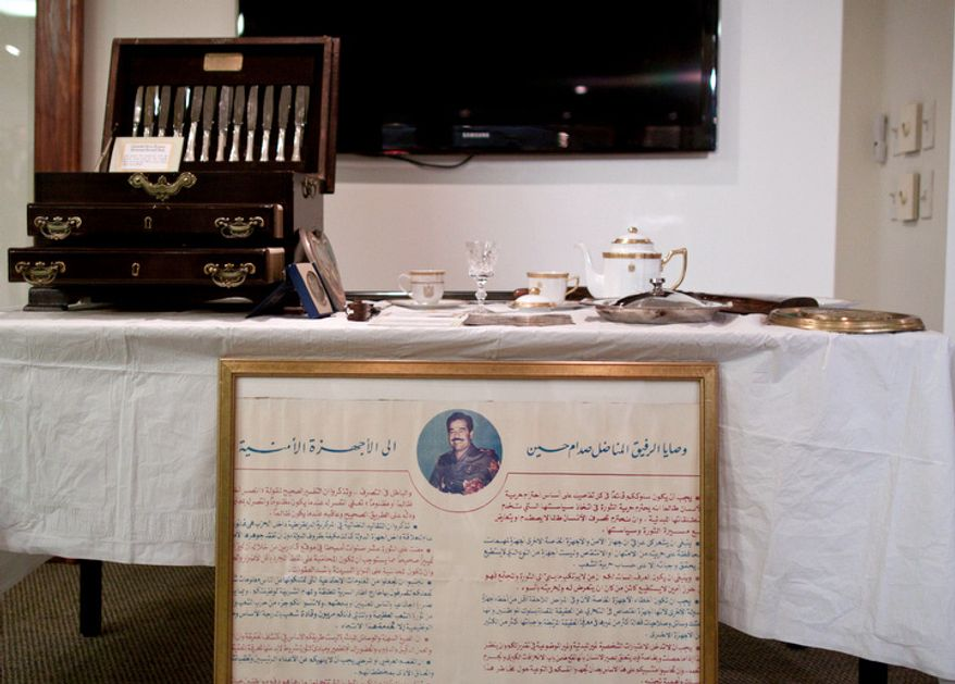 Artifacts are displayed during a repatriation ceremony of Iraqi antiquities at the Iraqi Cultural Center in Washington on Thursday, July 7, 2011. (Pratik Shah/The Washington Times)