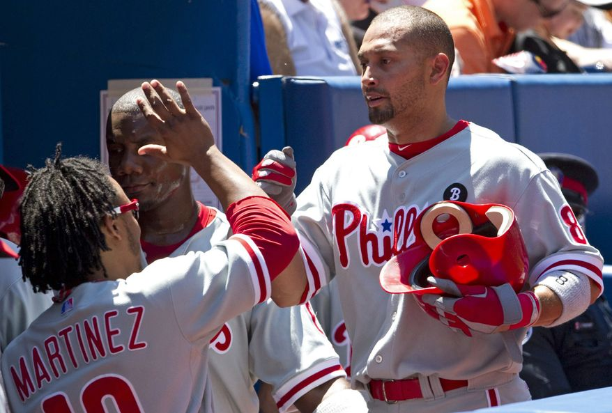 """Philadelphia Phillies outfielder Shane Victorino was selected to the All-Star game in the online fan voting - the """"final vote"""". Michael Morse finished fourth in the voting. (AP Photo/The Canadian Press, Darren Calabrese)"""