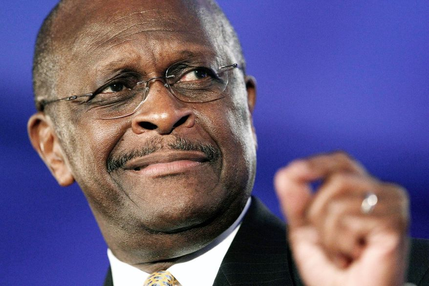 Associated Press photographs Republican presidential hopeful Herman Cain finished first over the weekend in a straw poll of conservative activists at a gathering in Henderson, Nev., with 24 percent of the vote. Mr. Cain is the former chief executive officer of the Godfather's pizza restaurant chain.