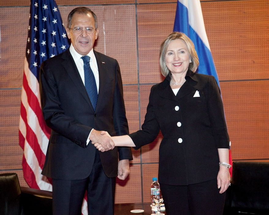"Russian Foreign Minister Sergey Lavrov and U.S. Secretary of State Hillary Rodham Clinton, here at an ASEAN summit in 2010, are expected to sign a bilateral agreement soon allowing intercountry adoptions to resume fully. It is said to be ""nearing finalization."" (Associated Press)"