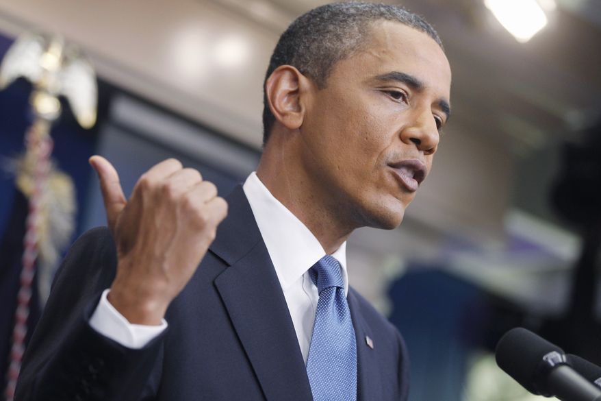 President Obama talks about the ongoing budget negotiations during a press conference in the briefing room of the White House in Washington on Monday, July 11, 2011. (AP Photo/Charles Dharapak)