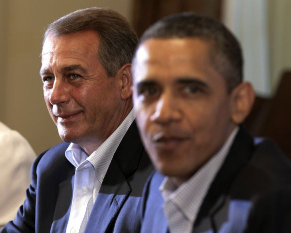 President Obama meets Monday at the White House with House Speaker John A. Boehner, Ohio Republican, for talks aimed at a deal on debt reduction. (Associated Press)