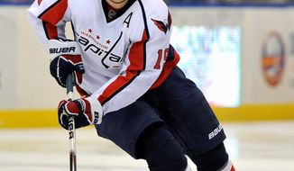 Washington Capitals center Nicklas Backstrom (19) of Sweden drives the puck down ice during the NHL hockey game against the New York Islanders, Saturday, Feb. 26, 2011, in Uniondale, N.Y. (AP Photo/Kathy Kmonicek)