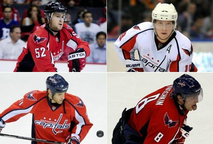 The Washington Capitals are counting on Mike Green, Nicklas Backstrom, Brooks Laich and Alex Ovechkin to become leaders this season. Do they have what it takes? (Green: Joseph Silverman/The Washington Times), (Backstrom: AP Photo/Kathy Kmonicek), (Laich: Associated Press Photographs), (Ovechkin: AP Photo/Alex Brandon)