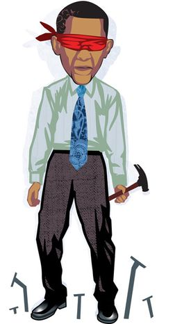Illustration: Obama jobs by Linas Garsys for The Washington Times