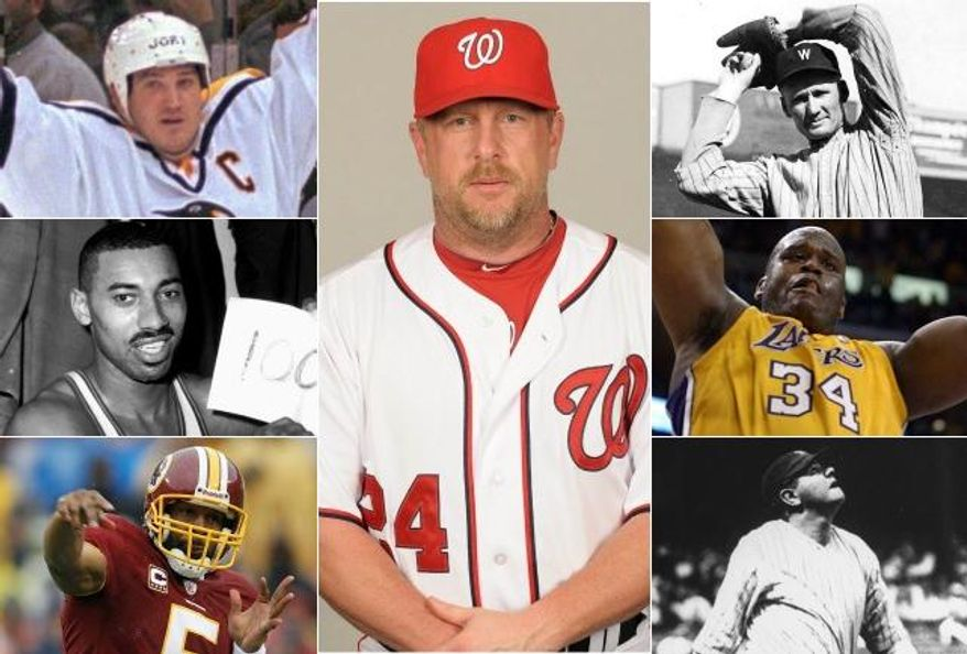 Forty-three-year-old Matt Stairs started playing in the major leagues in 1992. The pinch-hitting specialist is the sporting world's version of Kevin Bacon. From Shaquille O'Neal to Mario Lemeiux to Donovan McNabb, Stairs has connections all over the wide world of sports. [Captions: (Stairs: Tony Firriolo/MLB Photos), (O'Neal: AP Photo/Kevork Djansezian), (Ruth: AP Photo/HO, National Baseball Library), (Chamberlain: AP Photo/Paul Vathis, file), (Lemieux: AP Photo/Gene J. Puskar), __ (McNabb: AP Photo/Evan Vucci)]