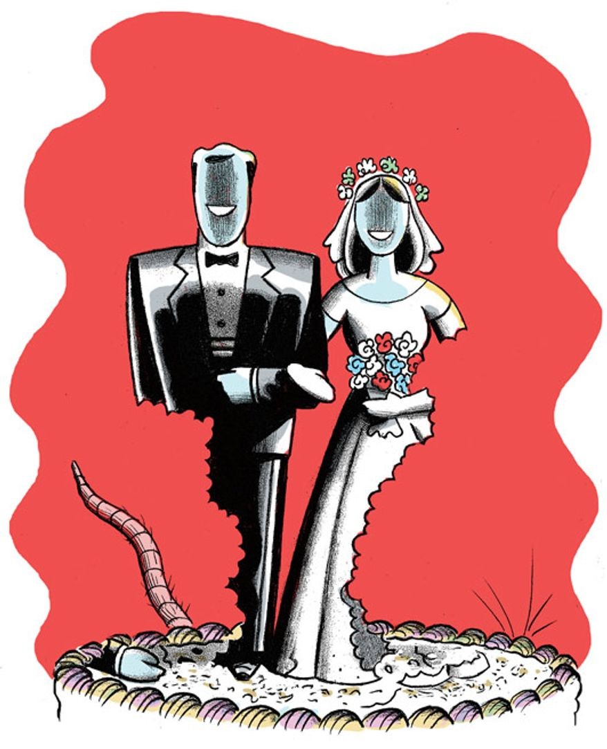 Illustration: Marriage crumbling by Alexander Hunter for The Washington Times