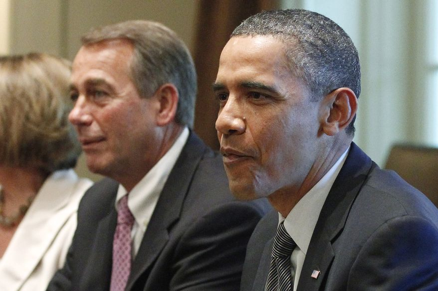 President Obama and House Speaker John A. Boehner take part in a meeting at the White House on July 14, 2011, with Republican and Democratic leaders regarding the debt ceiling. (Associated Press)