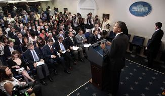 President Barack Obama talks about the ongoing budget negotiations during a news conference, Friday, July 15, 2011, in the briefing room of the White House in Washington. (AP Photo/Pablo Martinez Monsivais)