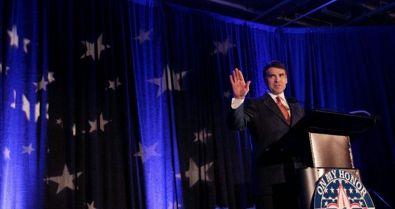 FILE - In this June 29, 2011 file photo, Texas Gov. Rick Perry speaks during a Boy Scout ceremony aboard the USS Midway in San Diego. If Perry decides to run for president, he'll attack from the Republican Party's right flank, as he would be among the GOP field's most conservative candidates. (AP Photo/Gregory Bull, File)