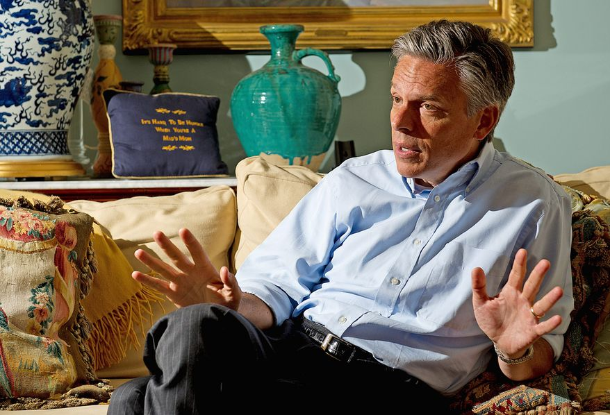 Republican presidential candidate Jon Huntsman Jr., seen here at his home in the District, has raised $4.1 million for his fledgling campaign. The former Utah governor and ambassador to China takes issue with critics on the GOP right who say he's too moderate. (Barbara L. Salisbury/The Washington Times)