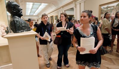 "ASSOCIATED PRESS Searching for clues as part in the ""Murder at the Met"" scavenger hunt at the Metropolitan Museum of Art in New York this month are (from left) Matthew Meche, Dana Zolli and Noga Pnueli. Watson Adventures hosts hunts in 27 museums in seven U.S. cities."