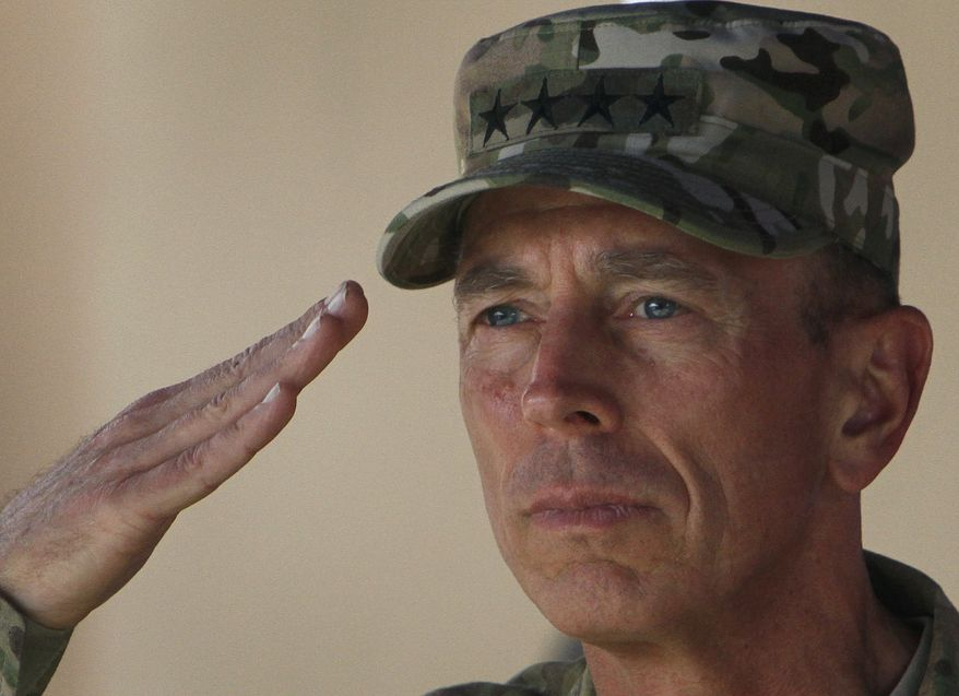 U.S. Army Gen. David H. Petraeus, the outgoing commander of International Security Assistance Force (ISAF) in Afghanistan, salutes during a change-of-command ceremony in Kabul, Afghanistan, on July 18, 2011. (Associated Press)