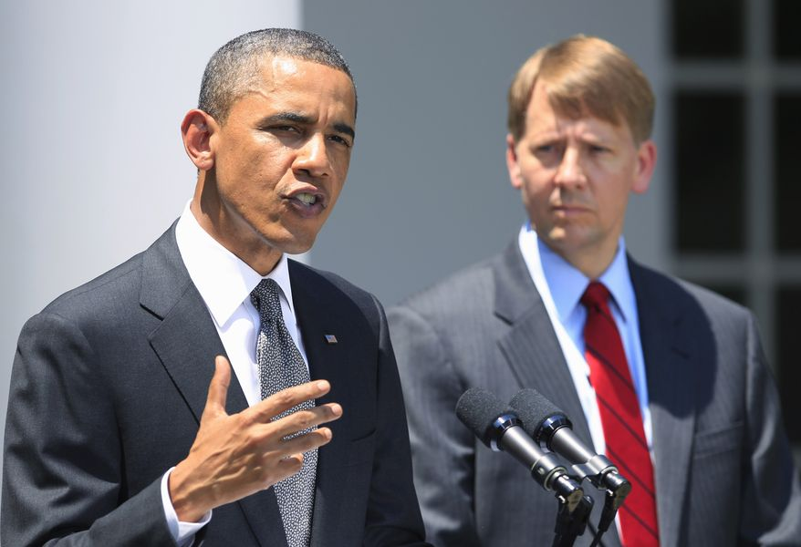President Obama announces the nomination of former Ohio Attorney General Richard Cordray (right) as the first director of the Consumer Financial Protection Bureau (CFPB) on Monday, July 18, 2011, in the Rose Garden of the White House in Washington. (AP Photo/Manuel Balce Ceneta)