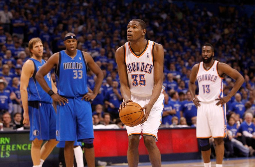 D.C. native Kevin Durant is one of the many superstars who are scheduled to pay a visit to the Verizon Center during the upcoming NBA season. Durant's Oklahoma City Thunder are slated to face the Wizards here Jan. 18 and March 6. (Associated Press)