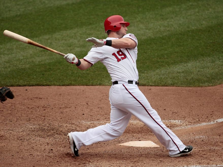 Washington Nationals outfielder Laynce Nix was reunited with his platoon partner from last season with the Cincinnati Reds when the Nats acquired Jonny Gomes on Tuesday. (Associated Press)