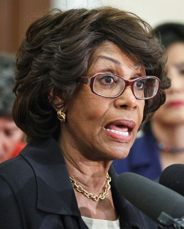 Rep. Maxine Waters, California Democrat, wants the House to dismiss an ethics case centered on a bailout for a bank where