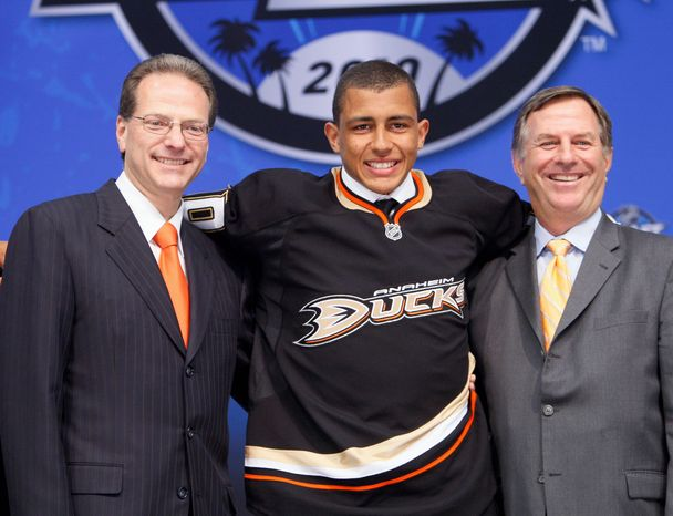 California-born Emerson Etem was taken with the 29th pick in the 2010 NHL draft by the Anaheim Ducks. (AP Photo/Reed Saxon)