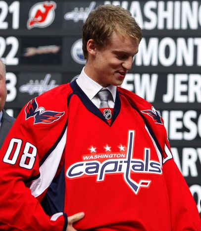 The Washington Capitals placed Anton Gustafsson, the 21st pick in the 2008 NHL draft, on waivers Wednesday. (Associated Press).
