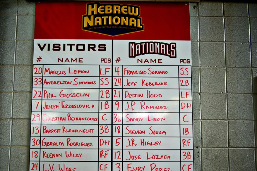 Fans are greeted by a handwritten lineup sheet on the wall of the main concourse at Pfitzner Stadium, during a game between the Potomac Nationals and Lynchburg Hillcats, in Woodbridge, Va., Tuesday, July 19, 2011. (Drew Angerer/The Washington Times)
