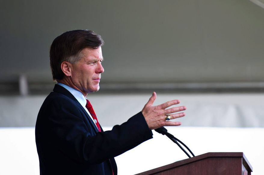 Drew Angerer/The Washington Times Virginia Gov. Bob McDonnell addresses the opening ceremony of the commemoration of the 150th anniversary of the First Battle of Manassas/Bull Run on Thursday in Manassas, Va.